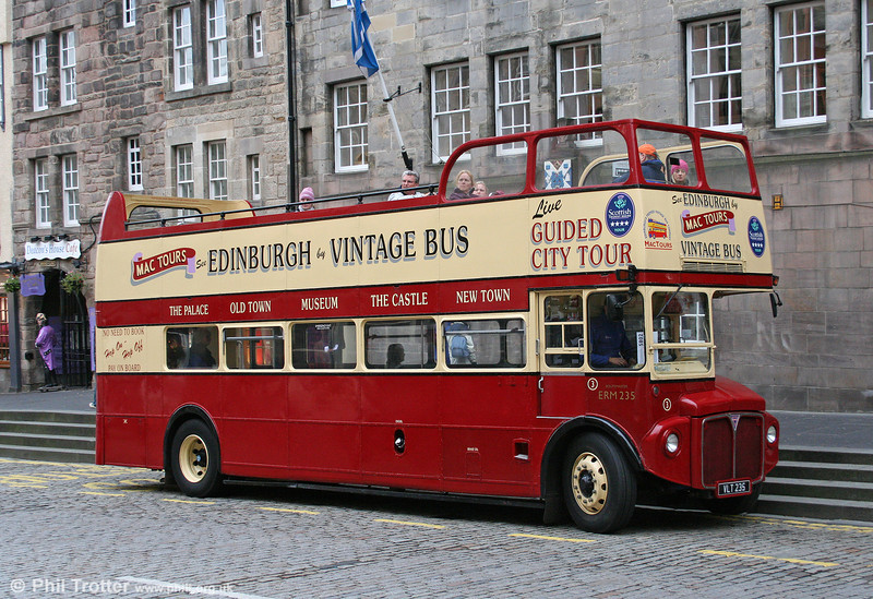 Mac Tours, Edinburgh has the biggest fleet of ex-London AEC Routemasters in the UK, including ten stretched versions rebuilt by previous owner London Coaches. 3/ERM235 (VLT 235) with Park Royal O44/32RD is seen at Lawnmarket on 18th October 2010.