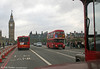 A passenger's eye view of Arriva's RML2572 (JJD 572D) on Westminster Bridge on 29th October 2005. It's not midday - Big Ben was under repair. Arriva later transferred this bus to one of its other depots.....in Spain.