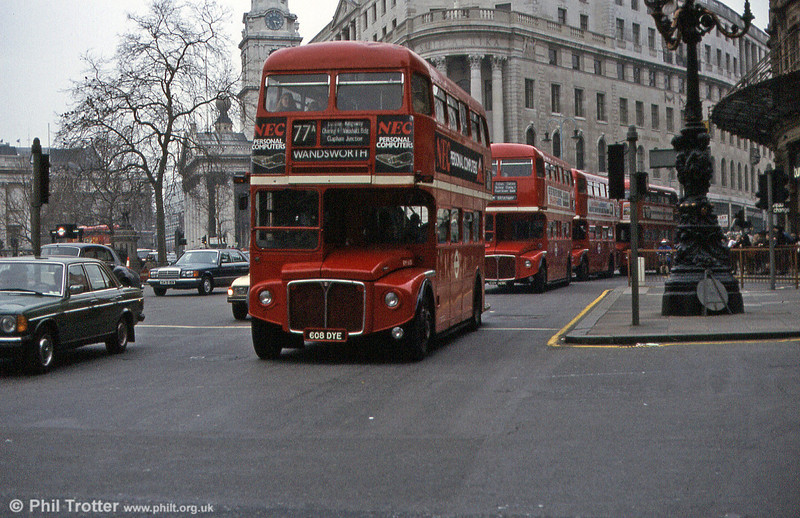 RM1608 (608 DYE) is closely followed by several others at Trafalgar Square in March 1984. A year later this bus was withdrawn and scrapped.