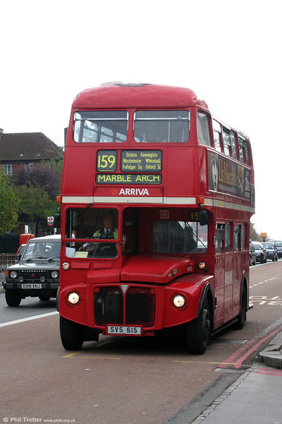 It's 29th October 2005 and only one route remains operated by Routemasters, 159 (Marble Arch - Streatham). This is the reregistered RM346 (SVS 615 - formerly WLT 346) setting out from Streatham on the journey back into town. In 1995 this bus had been withdrawn and exported to Italy. It was returned to the UK in 2001 and refurbished for a return to service. After withdrawal for a second time in December 2005 this vehicle went on its travels again and was exported to Moscow!