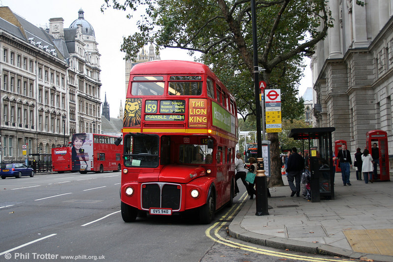 The iconic sight of a Routemaster in London. RM875 (OVS 940), still in front line service on the last 'proper' route on 29th October 2005. This bus had spent some time with Stagecoach/Cumberland Motor services in 1986-96 before returning to London.