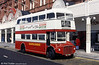 Routemaster 527 (WLT 879) sunny side up at the Tower, not long after a repaint, 2nd May 1992. This was formerly London Transport RM879 of 1961.