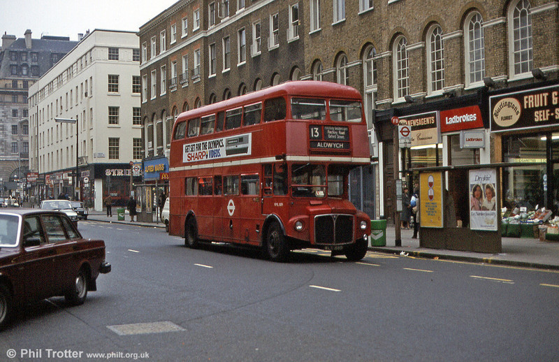 RML889 (WLT 889) on route 13 for Aldwych in March 1984.