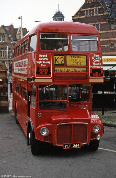 'Showbus' RM254 (VLT 254) seen on a special service in March 1984.