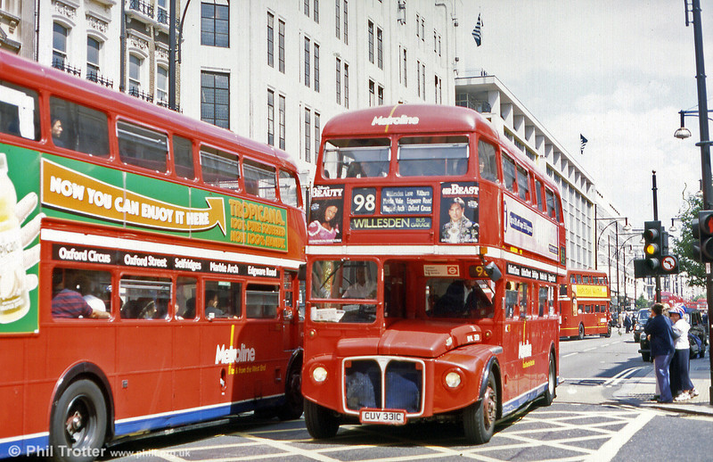 Another summertime shot in Oxford Street; RML2331 (CUV 331C) heading for Willesden (from Holborn) in August 1999.