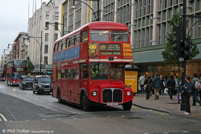 A poignant photograph. As I was unable to attend the route 159 finale, this was my last ever photograph of a Routemaster in 'normal' service. RML 2324 (CUV 324C), Oxford Street, 5th November 2005. RML2324 was originally a green 'Country' RML.