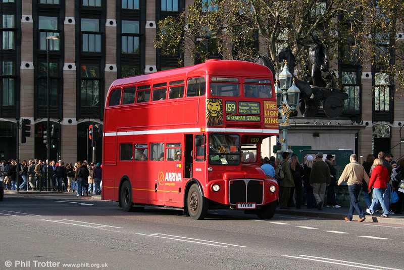 RM548 (SVS 618) is another of the refurbished RMs, originally registered WLT 548. It was re-acquired from preservation and is seen on Westminster Bridge on 5th November 2005.