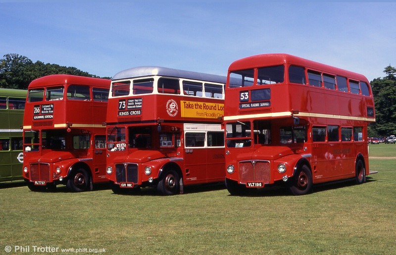 Three restored examples of RMs, left to right: WLT 737 (RM737), CUV 116C (RM2116) and VLT 196 (RM196) at the Mid Hants Rally, Alton in 1999.