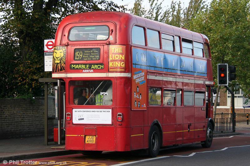 RML2491 (JJD 491D) from the rear at Streatham Hill on 29th October 2005.
