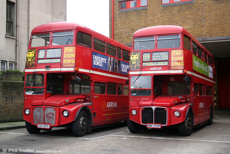 Even with two Central London 'heritage' routes, this is a sight we may not be able to record again; Routemasters stacking up at the terminus. Streatham Station, 29th October 2005 with RML 2307 (CUV 307C) and RML2753 (SMK 753F). RML2307 later passed to an owner in the Czech Republic; RML2753 to an owner in Switzerland.
