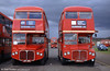 Routemasters and threatening skies at Cobham Rally in 2000. Left is 1962 built RMC1456 (LFF 875, formerly 456 CLT) alongside RMC1490 (490 CLT).