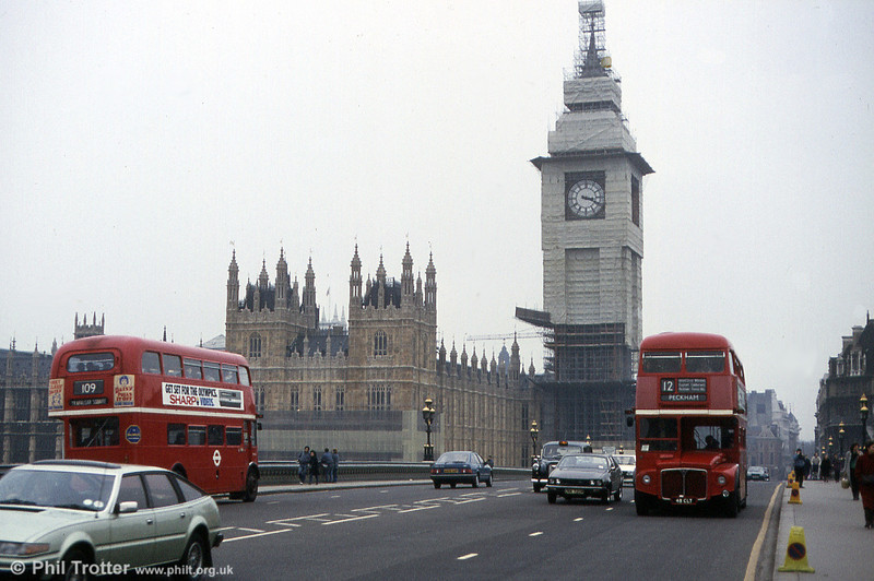 RM1048 (48 CLT) passes a sister on Westminster Bridge in March 1984. Big Ben is clearly under repair.