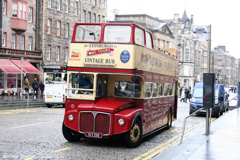 Mac Tours, Edinburgh 3 (VLT 235) an AEC Routemaster/Park Royal O44/32RD seen at Lawnmarket on 18th October 2010.