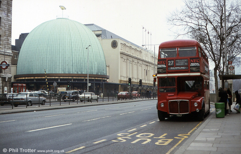 The now-preserved RM1001 (1 CLT) when still in service, near Tussaud's on route 27 in March 1984.