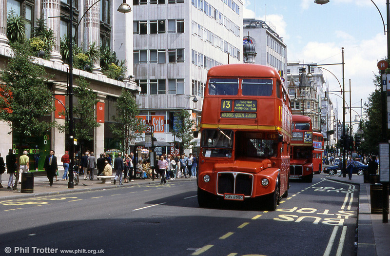 RML2265 (CUV 265C) heads through Oxford Street on route 13 to Golder's Green in August 1999. The last Routemaster ran on this route on 21st October 2005.