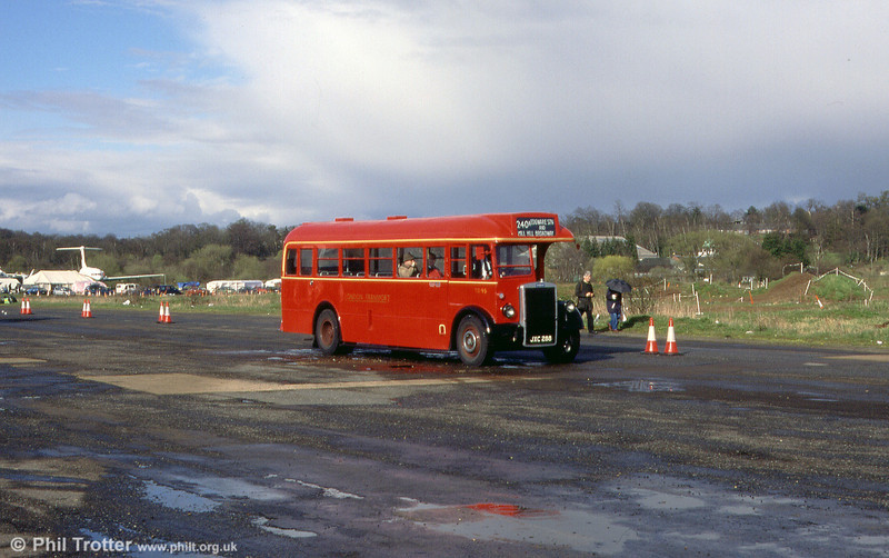 TD95 (JXC 288), a 1949 Leyland Tiger PS1/Weymann B32F seen at a Cobham Rally in 1999.