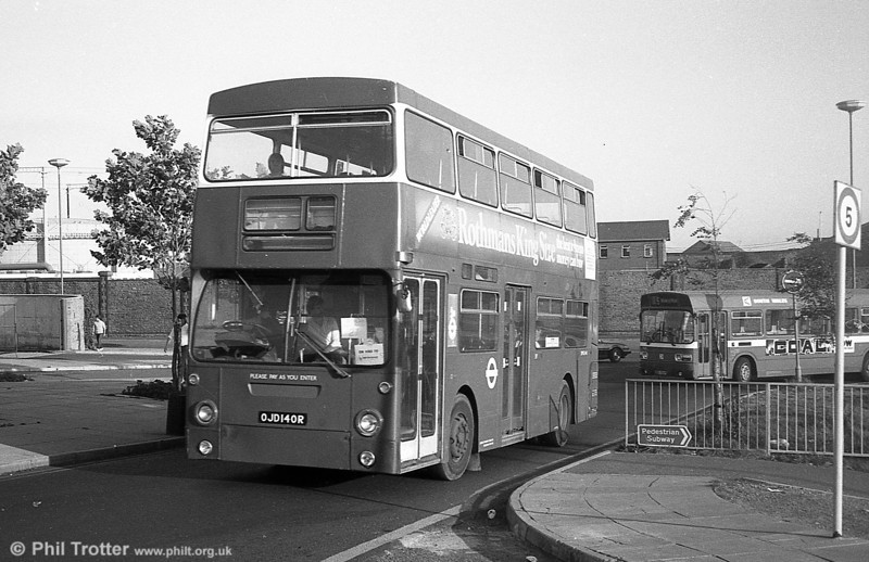 DMS2140 (OJD 140R) at the Quadrant Bus Station, Swansea in September 1982. The following year the bus was exported to Hong Kong where it was eventually broken up in 1990.