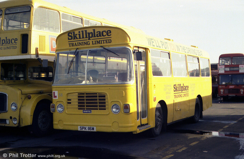 Former London Country BL16 (SPK 116M), a 1973 Bristol LH6L/ECW B35F seen in use as a training vehicle with Skillplace, Port Talbot.