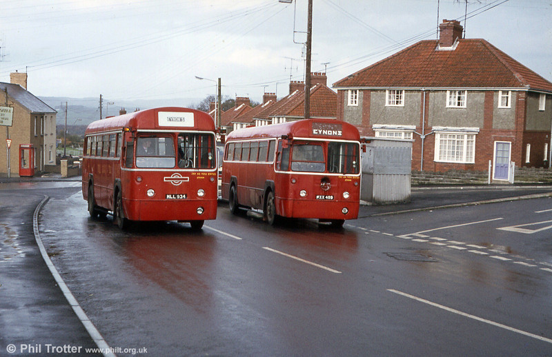 A London scene recreated in deepest Carmarthenshire! RFs MLL 934 and MXX 489 at Trimsaran, near Llanelli in service with Eynon's.