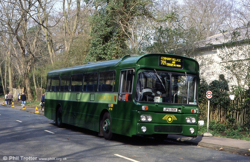 London Country AEC Reliance RP90 (JPA 190K) at Cobham in 2000.