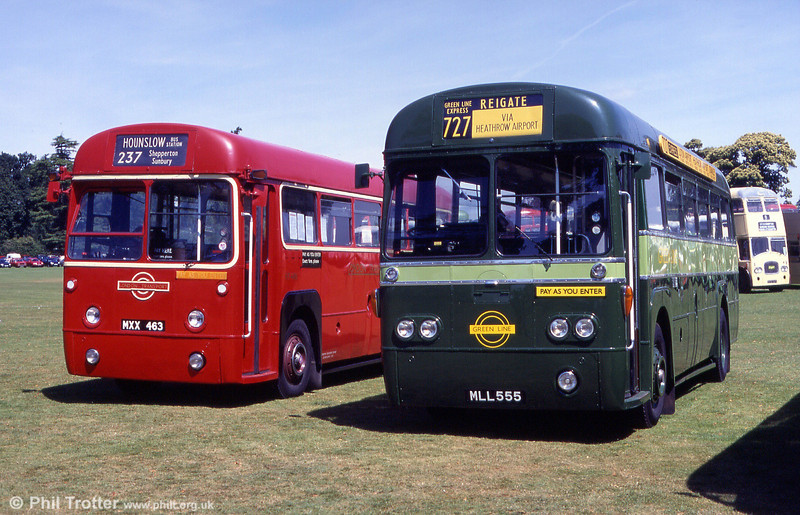A contrast in RF liveries with red RF486 (MXX 463) and modernised Green Line RF168 (MLL 555) at Alton in 1999.