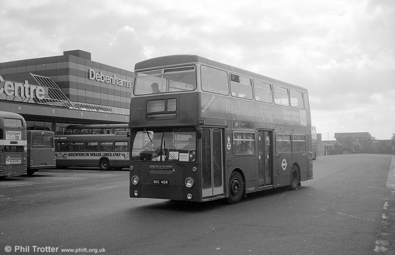 DMS2045 (OUC 45R) seen at the Quadrant Bus Station while on loan to South Wales Transport, Swansea in September 1982.