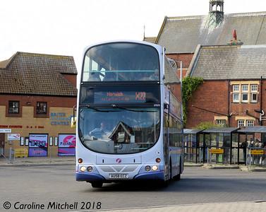 First 37575 (AU58ECZ), Lowestoft Bus Station, 28th September 2018