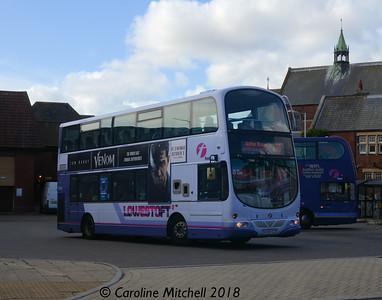 First 37565 (AU58ECD), Lowestoft Bus Station, 28th September 2018