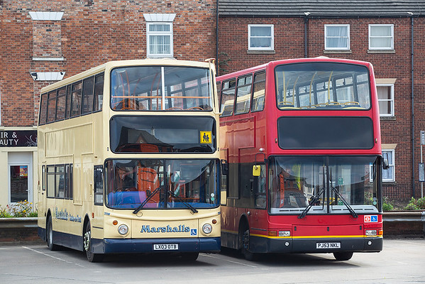 DD110 LX03OTB and Pulfreys Coaches PJ53NKL, Grantham 27/3/2019