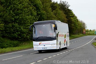 Durham City Coaches YJ16EJD, A69 near Haydon Bridge, 12th May 2018