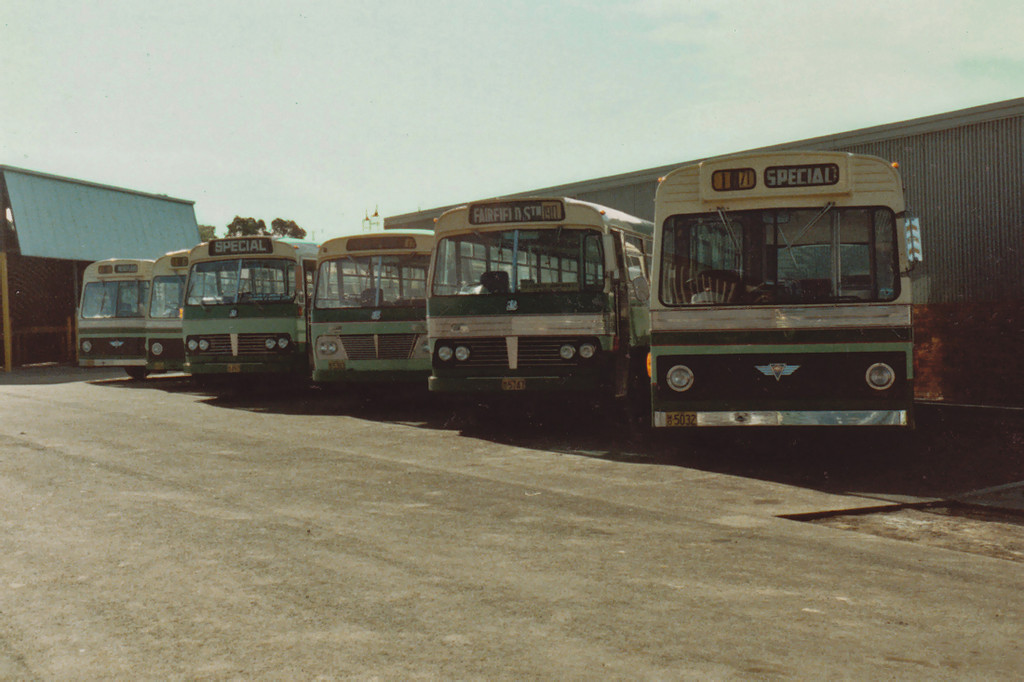 LtoR <br /> m/o 4979 AEC Swift/Freighter (12/71) (Ex Canberra ZIB-202)  <br /> m/o 034 AEC Swift/Smithfield (5/74) (Ex Canberra ZIB-234)  <br /> m/o 497 Bedford BLP2/CCMC (8/76)  <br /> m/o 5383 Bedford VAM70/CCMC (6/69)  <br /> m/o 5747 Bedford VAM70/CCMC (12/71)  <br /> m/o 5032 AEC Swift/Freighter (2/73) (Ex Canberra ZIB-217)