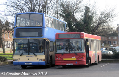 Whippet WD401 (H18WCL) and WS322 (LK03NKM), Huntingdon Bus Station, 8th January 2016