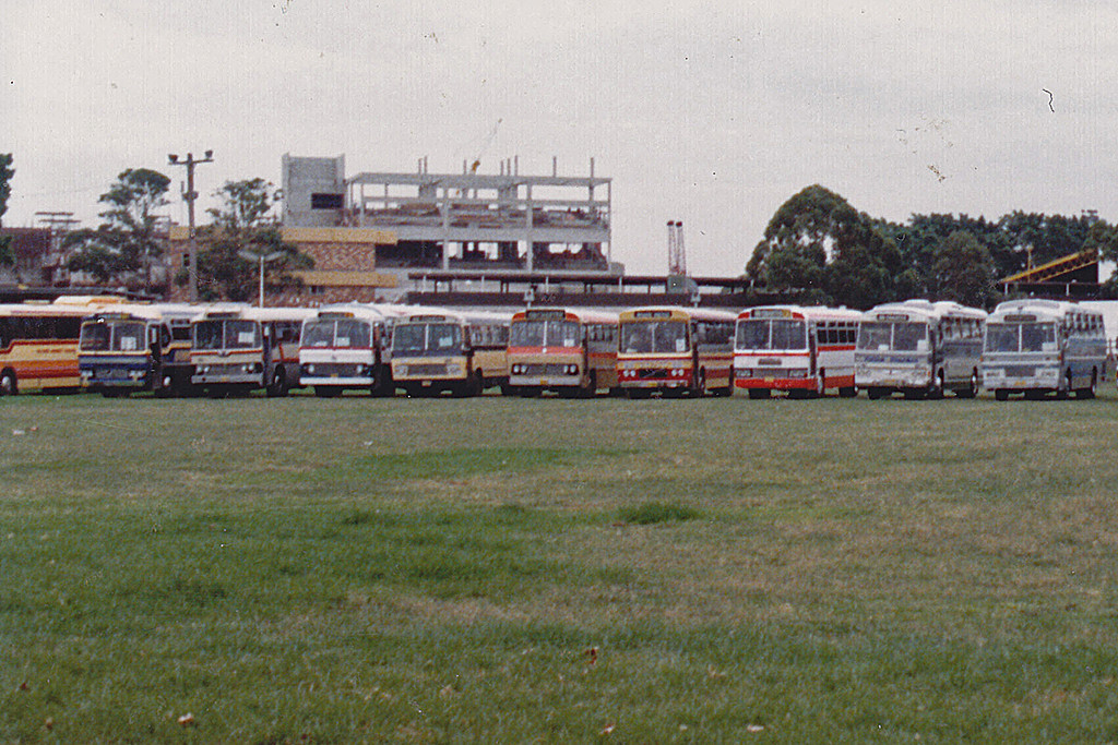 1983 Buses parked in Wentworth Park for the Premier's Concert at the Sydney Entertainment Centre.