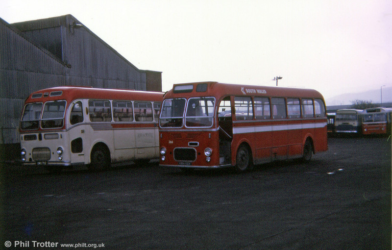 Before and after. South Wales 366 (RWN 884), a former United Welsh Bristol MW6G coach, converted for bus use alongside on-hire Red & White UC259 (UWO 702) with ECW C39F, which approximates to the original condition of the converted vehicle.