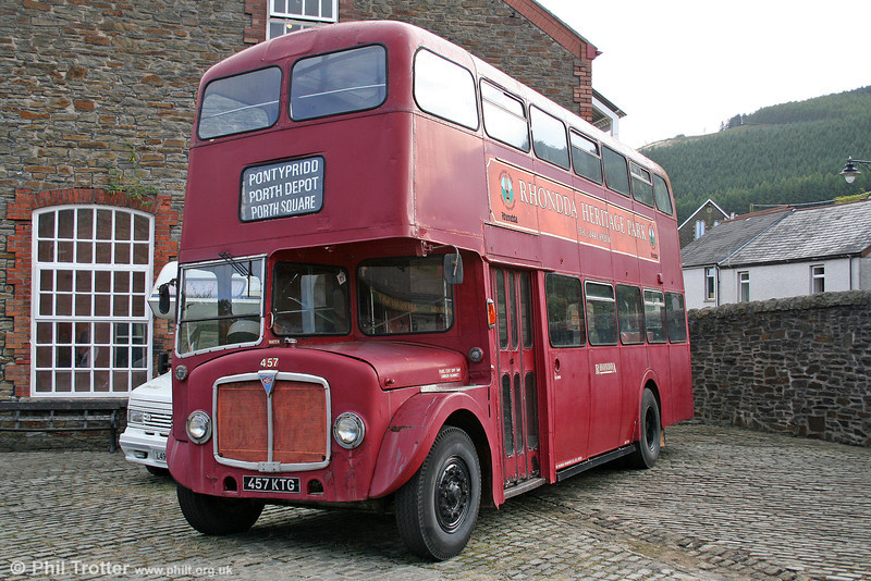 Rhondda 457 (457 KTG) is an AEC Regent V/Metro-Cammell H39/31F built in 1961 and nowadays kept at the Rhondda Heritage Park. 2nd October 2005.