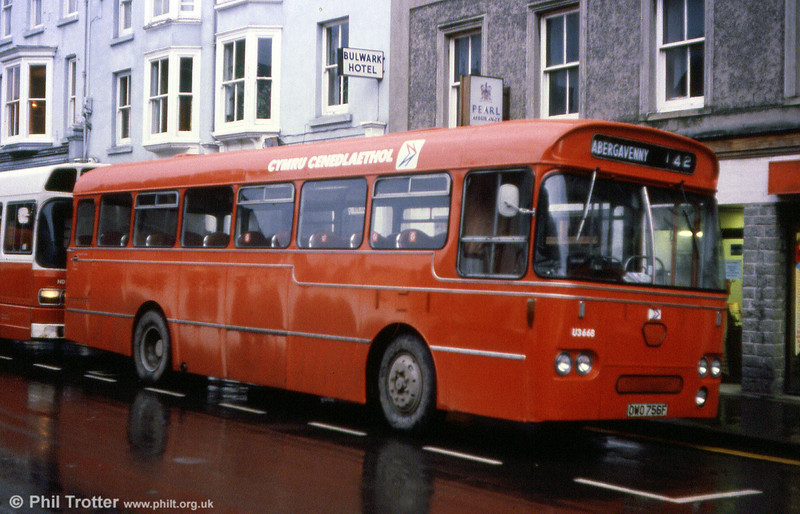 Seen at Brecon, is National Welsh U3668 (OWO 756F) was a Leyland Tiger Cub/Willowbrook B47F which originally was with Jones, Aberbeeg.
