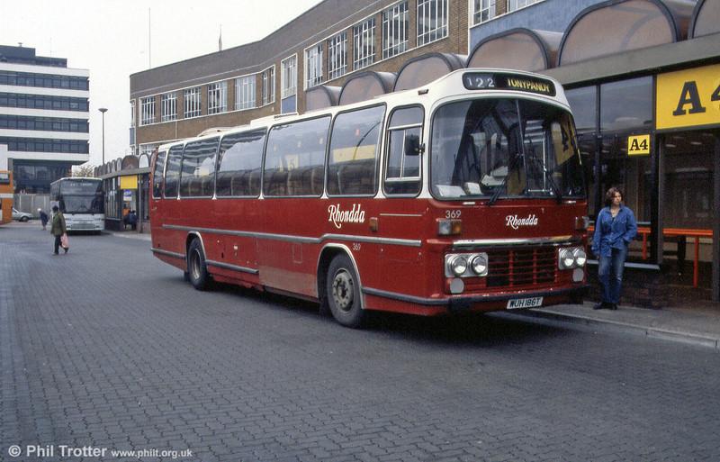 Rhondda 369 (WUH 186T) was a 1979 Leyland Leopard/Plaxton Supreme C49F, formerly National Welsh 1169.