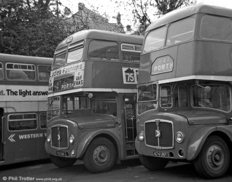 Two Northern Counties H37/28F bodied AEC Regent Vs at Porth, which originated in different fleets! 712 CUH was originally Western Welsh 712; 474 UNY was Rhondda Transport 474 of 1963.