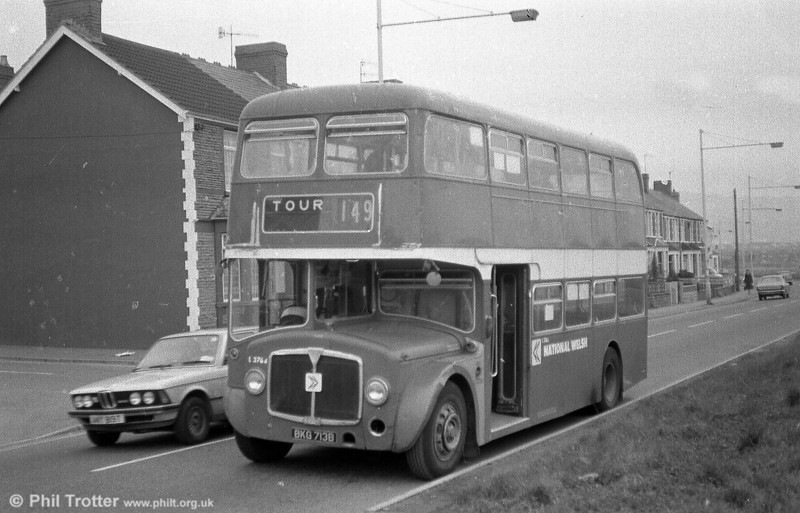 A second shot of former Western Welsh AEC Renown/Northern Counties H38/29F 713 (BKG 713B) pictured on a farewell enthusiasts' tour. By this time the bus was running as National Welsh L3764.