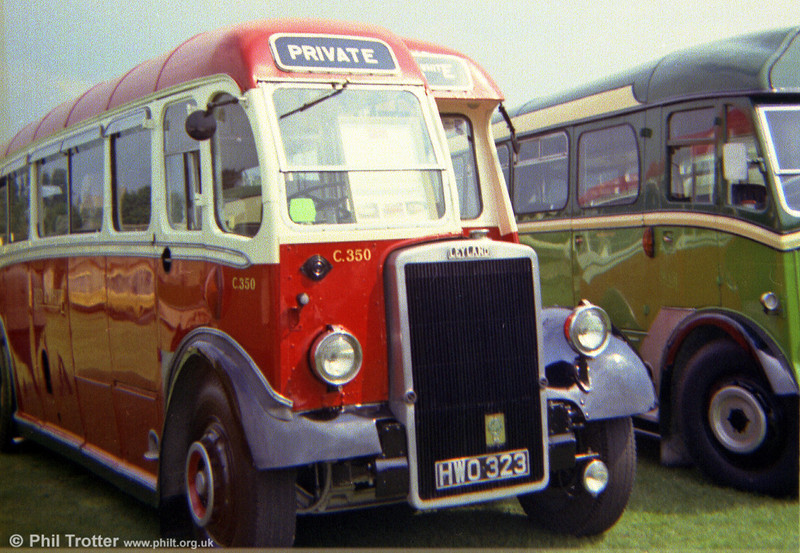 Red & White C350 (HWO 323), a Leyland PS1/Lydney Coachworks C33F pictured at a rally in the early 1970s.