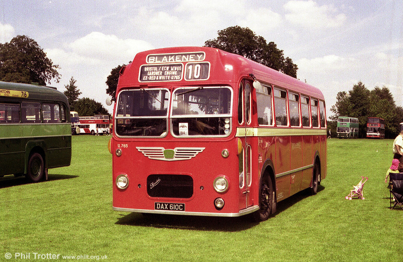 Now preserved, U765 (DAX 610C) is a Bristol MW6G/ECW B45F built in 1965 and which formerly operated in the Red & White fleet.