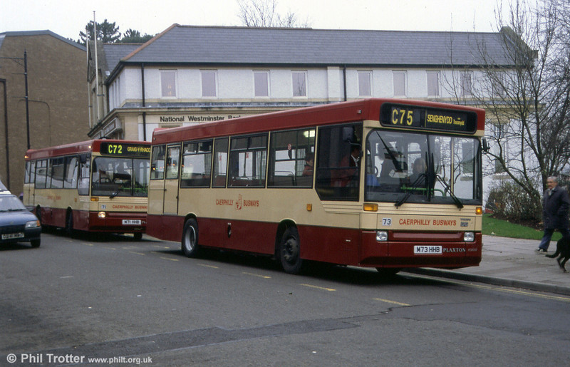 71 & 73 (M71/3 HHB), a pair of fairly new Rhondda Buses Dennis Darts with Plaxton Pointer B35F bodywork carrying 'Caerphilly Busways' local livery in 1994.