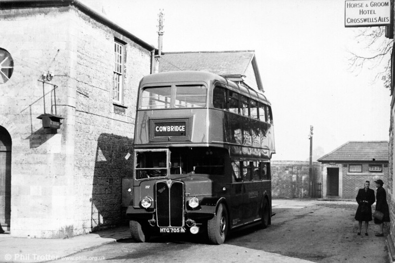 What looks to be a brand-new Rhondda Transport AEC Regent III/Weymann 237 (HTG 705) at Cowbridge Station.