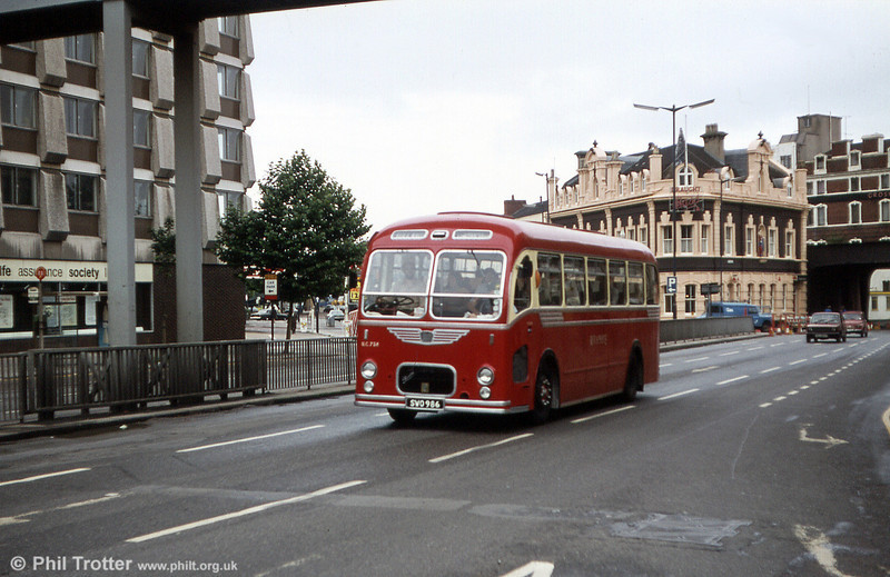 Preserved UC758 (SWO 986), a Bristol MW6G/ECW C39F seen on its way to a rally at Bristol.