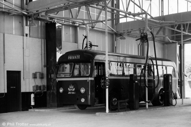 Western Welsh 1106 (JBO 106), one of the company's large fleet of Leyland Tiger Cubs with Weymann B44F, seen inside Neath Depot.