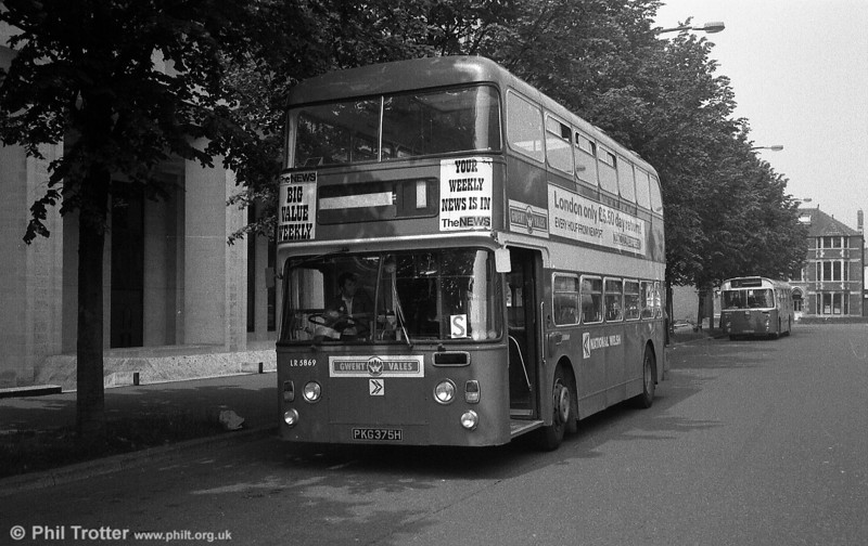 LR.5869 (PKG 375H) was a former Western Welsh Leyland Atlantean/Northern Counties H41/32F. It reached National Welsh via the SWT fleet, where it had been numbered 903.