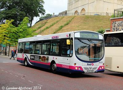 First 66329 (MV02VBO), Norwich, 17th June 2014