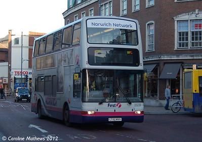 First 33239 LT52WVH), Norwich, 23rd November 2012