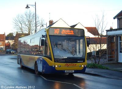 Anglian Bus 411 (AU08DKL), Acle, 23rd November 2012