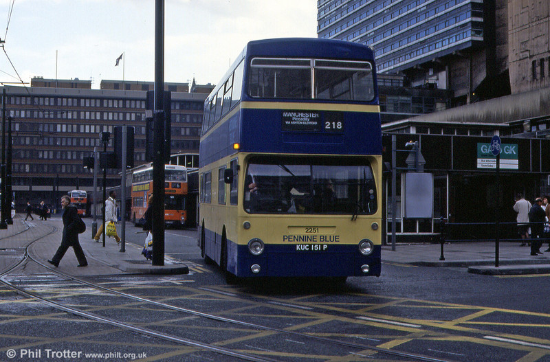 Seen at Piccadilly, Manchester on 3rd November 1992 was Pennine Blue's KUC 151P, formerly London Transport DM 1151.